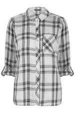 Check Shirt with Stud Detail
