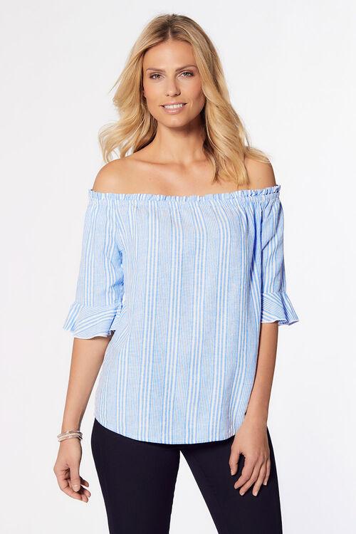 Stripe Print Linen Blend Bardot Top