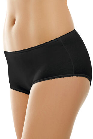 Pack of 5 Plain Black Cotton Full Briefs