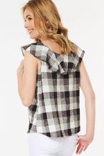 Gingham Linen Blend Frill Vest