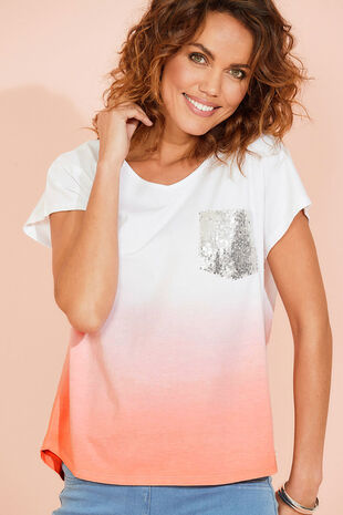 Ombre Sequin Pocket T-Shirt