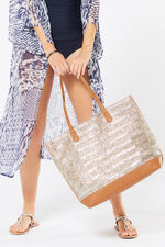 Faux Straw Tote Resort Bag