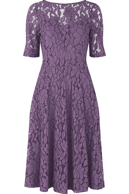bellfield half sleeve lace dress - purple - size 10
