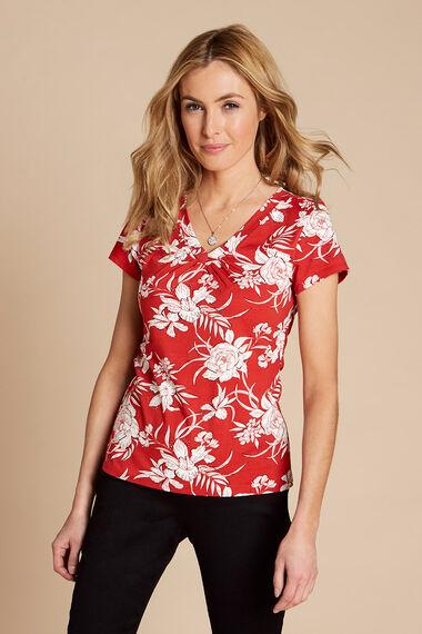 Bold Floral Print V Neck Short Sleeve Top