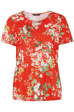 Floral Print Cross V Neck T-Shirt