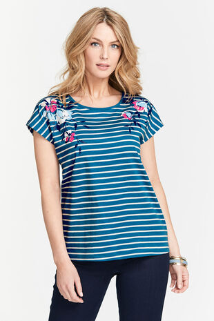 Stripe with Floral Bubble Print T-Shirt