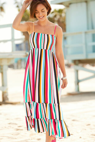 Stripe Maxi Shirred Dress
