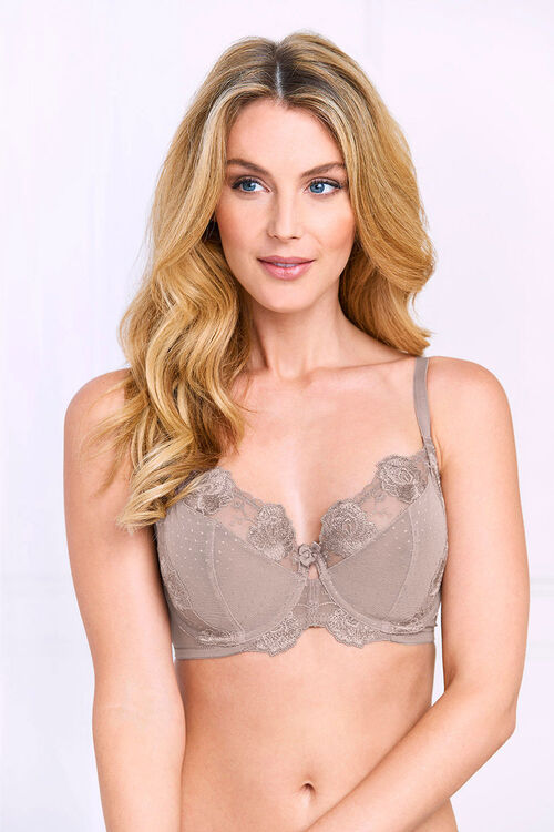 Mesh Lace Trim Underwired Bra
