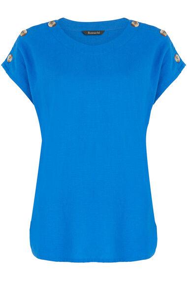 Short Sleeve Plain Linen Blend Shell Top