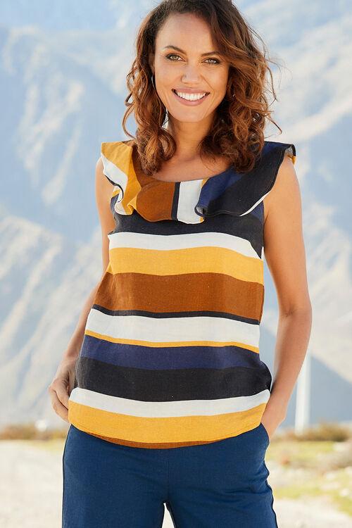 Linen Blend Stripe Frill Vest