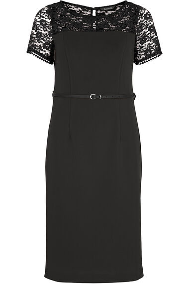 Lace Detailed Shift Dress With Belt