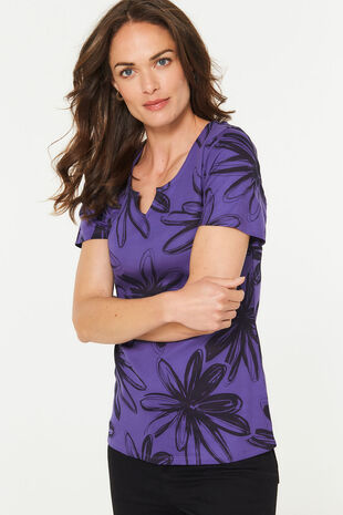 Notch Neck Floral T-Shirt