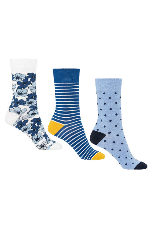 3 Pack Floral Printed Sock