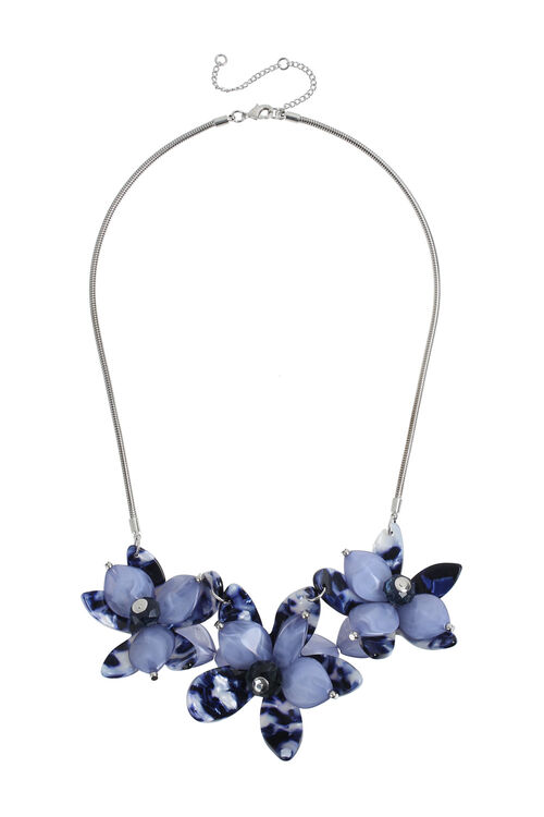 Muse Blue Floral Resin Collar
