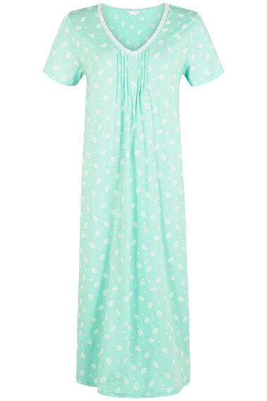 Aqua Leaf Print Nightdress