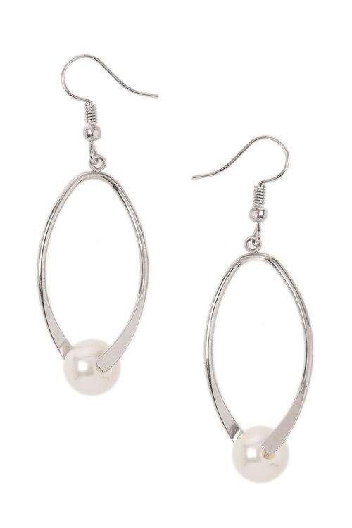 Muse Metal Twist Drop Earring With Pearl