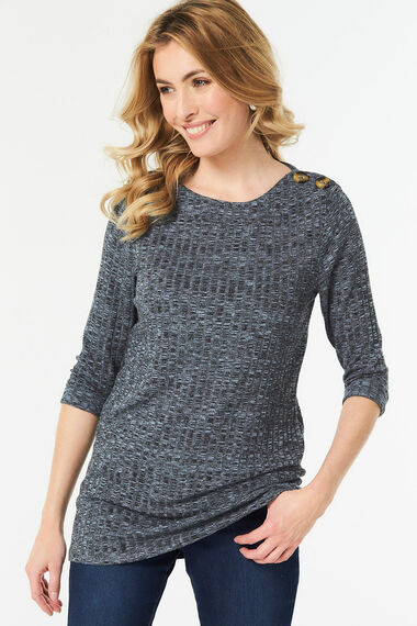 Rib Knit Tunic with Button Detail