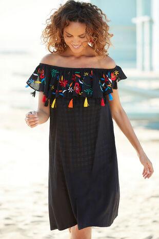 Embroidered Bardot Dress
