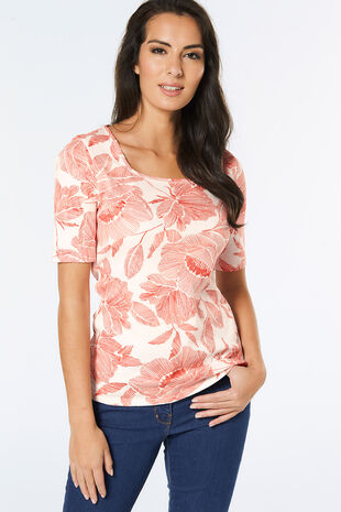 Half Sleeve Square Neck Floral Print T-Shirt