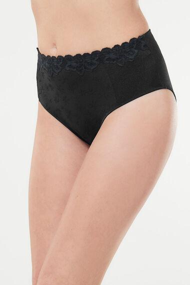 Jaquard High Leg Lace Brief