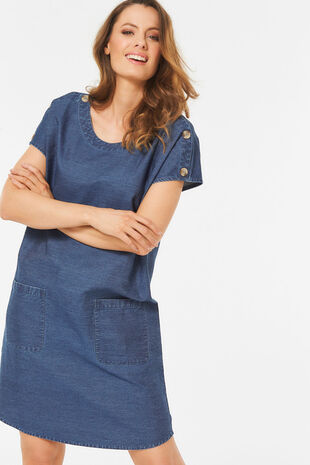 Denim Button Shoulder Dress