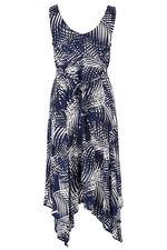 Sleeveless Palm Print Hanky Hem Dress