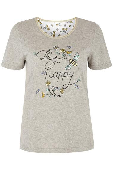 Bee Slogan Print Pyjama Set