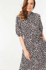 Animal Print Roll Neck Midi Dress
