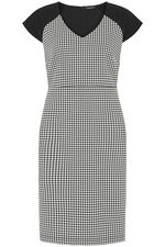 Dogtooth Check Shift Dress