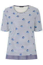 Stripe and Swallow Print T-Shirt