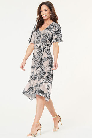 Flared Sleeve Print D-Ring Dress