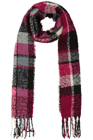 Pink and Grey Checked Textured Scarf