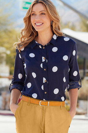 Long Sleeve Spot Print Linen Blend Shirt