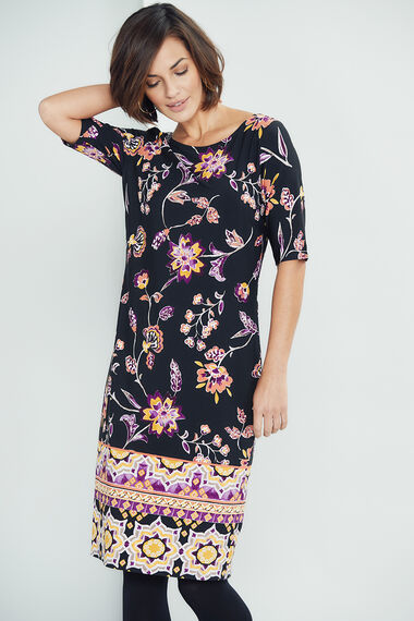 Border Print Tunic Dress