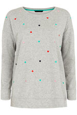 Heart Embroidered Sweat