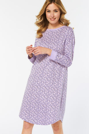 Long Sleeve Heart Print Nightdress