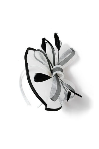 Muse Satin Black and White Fascinator