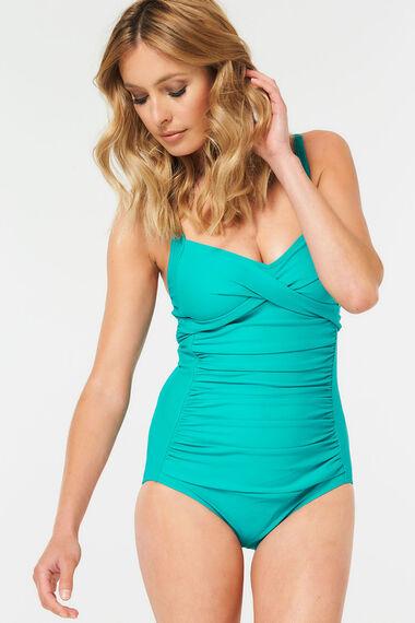 Plain Ruched Front Swimsuit