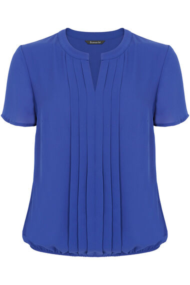Plain Short Sleeve Pleat Front Blouse