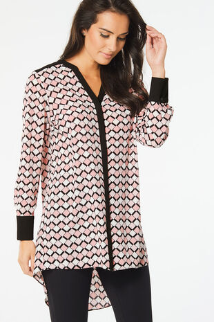 Geo Print Bubble Crepe Shirt