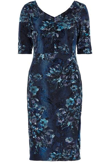 1/2 Sleeve Flocked Floral Dress