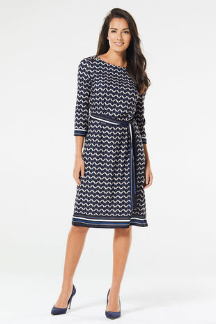 Zig Zag Tunic Dress with Belt