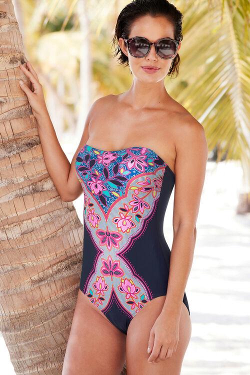 Navy Diamond Bandeau Swimsuit