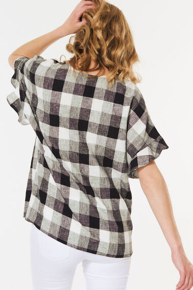 Gingham Linen Blend Frill Sleeve Shell Top