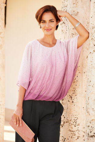 Ombre Cape Blouson Top