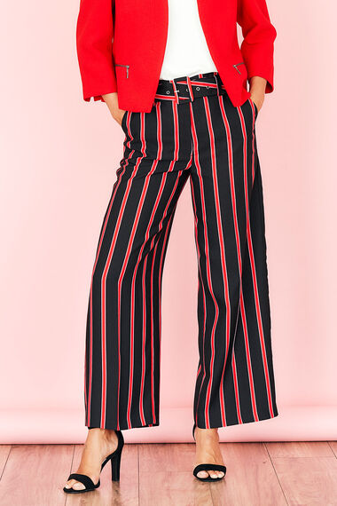 Stripe Crepe Wide Leg Trouser
