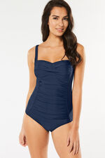 Plain Navy Ruched Swimsuit
