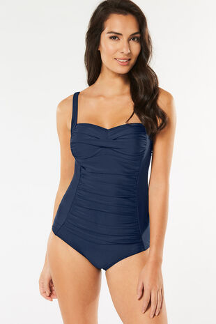 Plain Ruched Front Swimsuit