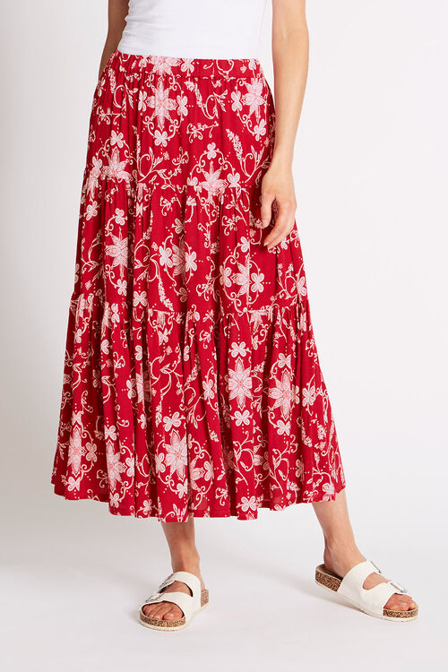 Printed Crinkle Tiered Skirt