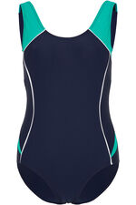Teal Contrast Panel Swimsuit